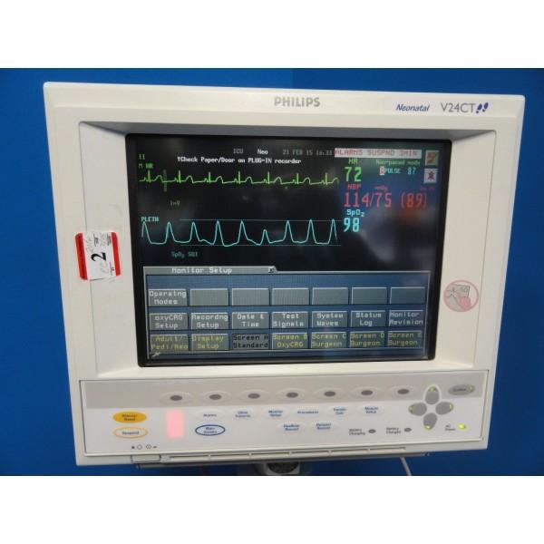 Philips Neonatal V24CT (NBP EKG SpO2 Temp CO2) Monitor W